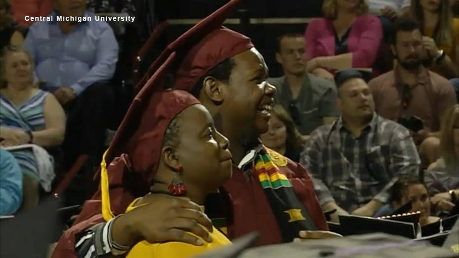 Mother, son graduate college together in surprise ceremony