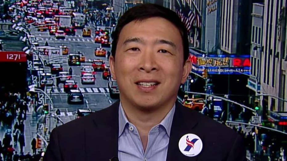 Democratic presidential candidate Andrew Yang explains his 'freedom dividend' plan