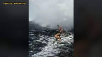 Videos show unsuspecting tourists slammed by wave at popular Instagram spot
