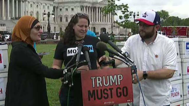 Rally outside the Capitol urging the House to start impeachment proceedings against President Trump thumbnail