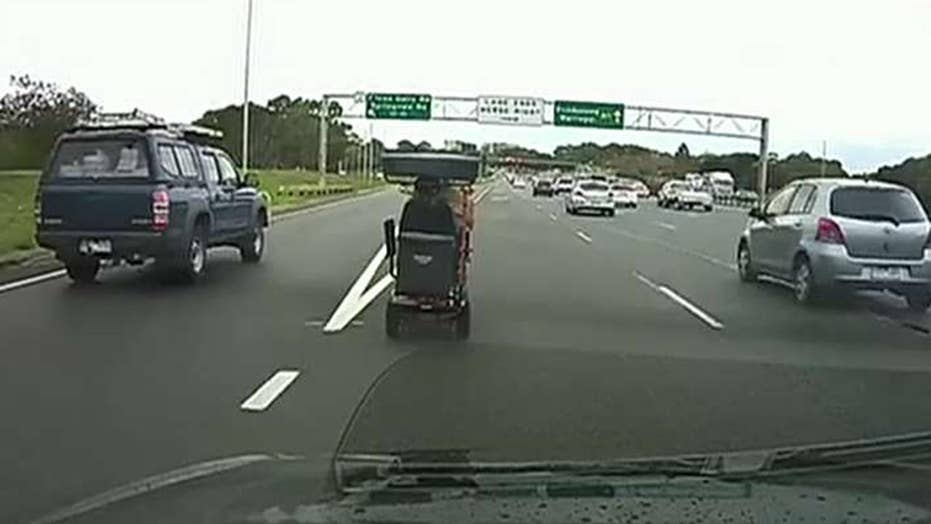 92-year-old man spotted driving mobility scooter on Australian freeway