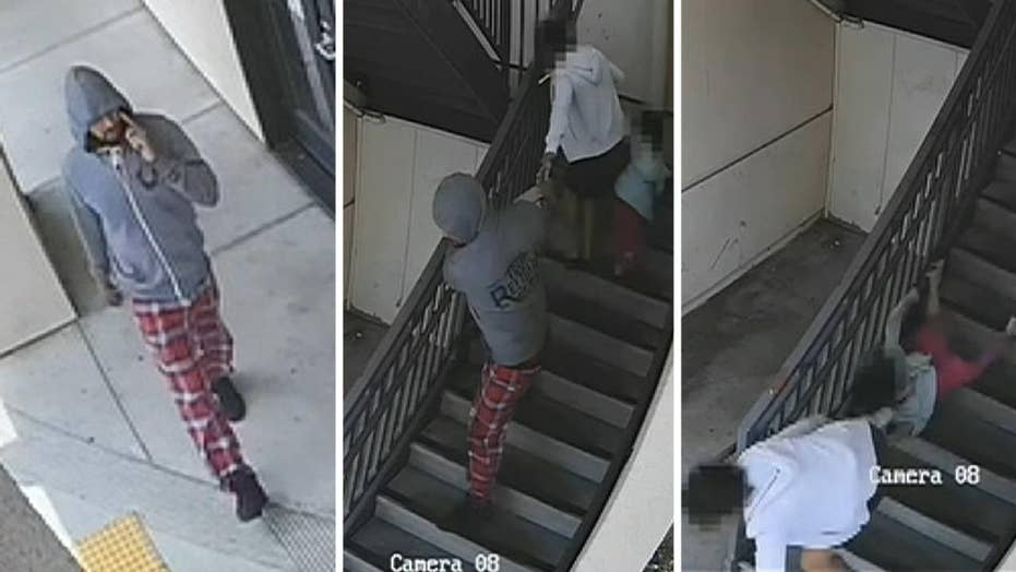 Woman and child pulled down stairs in violent purse snatching caught on camera
