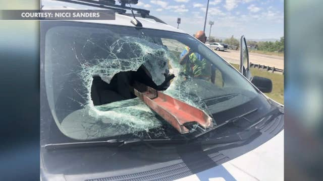 Utah driver lucky to be alive after metal beam smashes through her windshield
