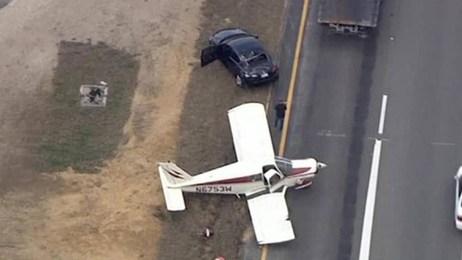 Plane lands on I-4 after pilot says he ran out of fuel
