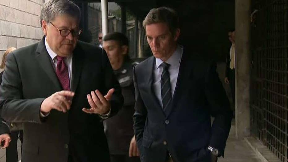 Attorney General William Barr gives initial talk given a recover of a Mueller report
