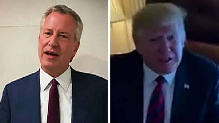 President Trump and NYC Mayor Bill De Blasio battle it out in dueling videos