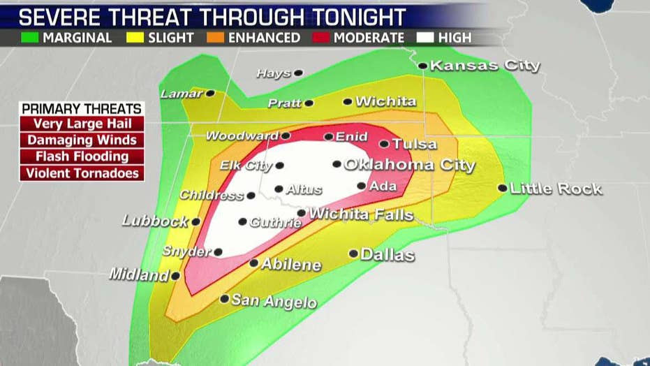 Violent Tornado Severe Thunderstorm Outbreak Expected In Texas - Us-tornado-map
