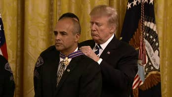 President Trump awards the Medal of Valor to select public safety officers
