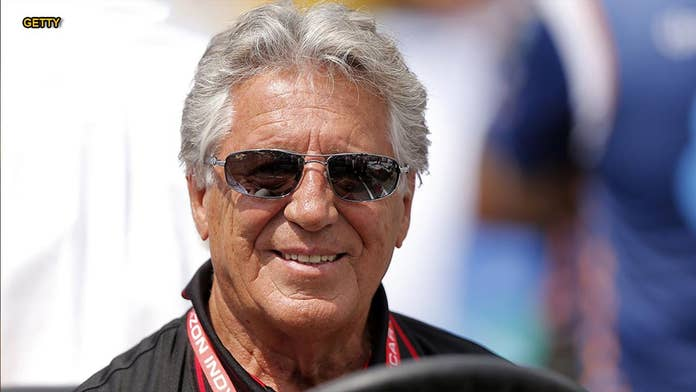 Mario Andretti crashes car at Texas Motor Speedway