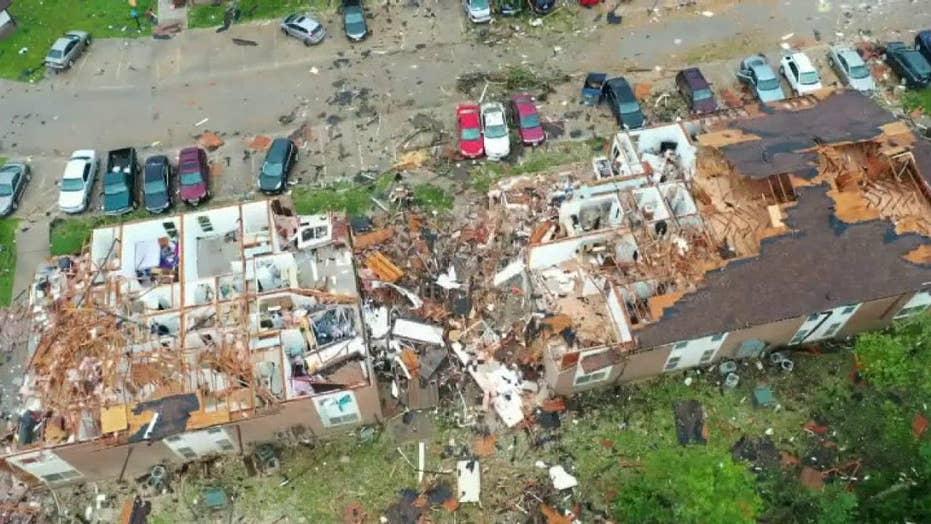 Raw video: Drone footage shows devastation after tornado sweeps through Jefferson City, Missouri