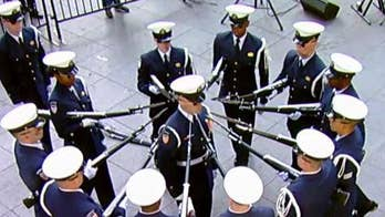 USCG Silent Drill Team performs on the Fox Square