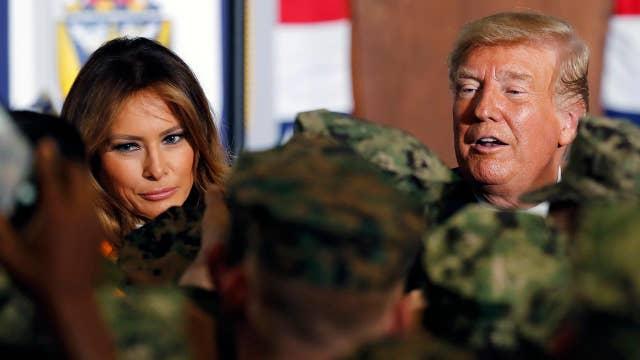 President Trump, first lady visit US service members in Japan