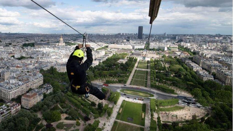 Zip line turns Eiffel Tower into thrill ride