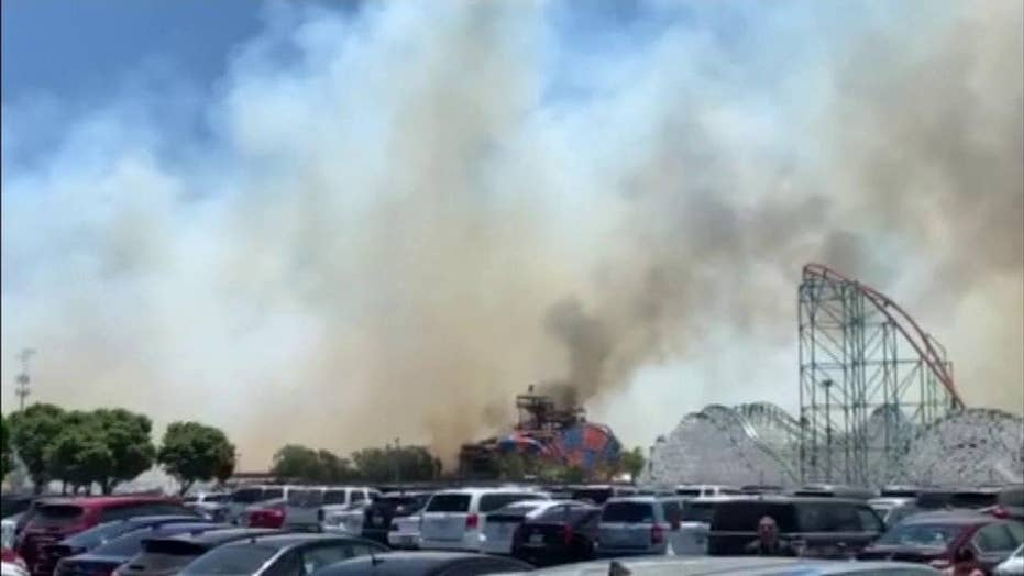 Raw video: Brush fire forces closure of Six Flags Magic Mountain in California