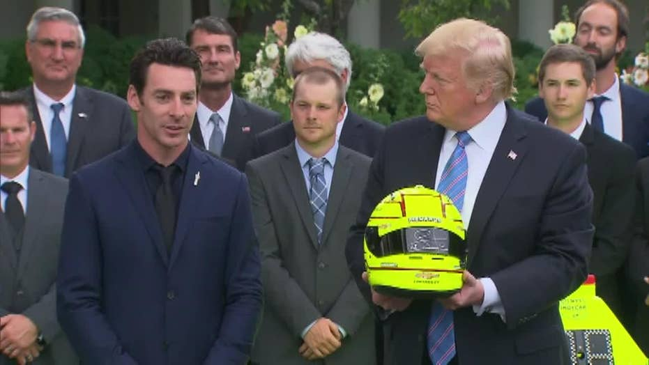 Donald Trump meets with Simon Pagenaud after Indy 500 win
