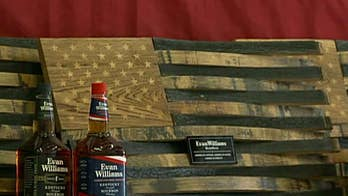 Veteran makes flags out of bourbon staves