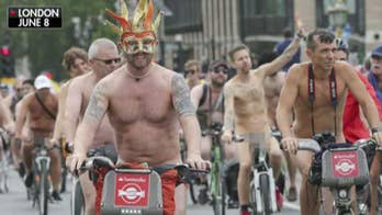 Bike riders strip down to expose the impact of climate change