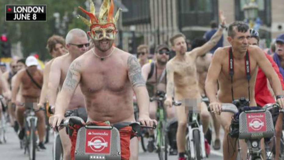 Bike riders strip down to expose the impact of climate ...