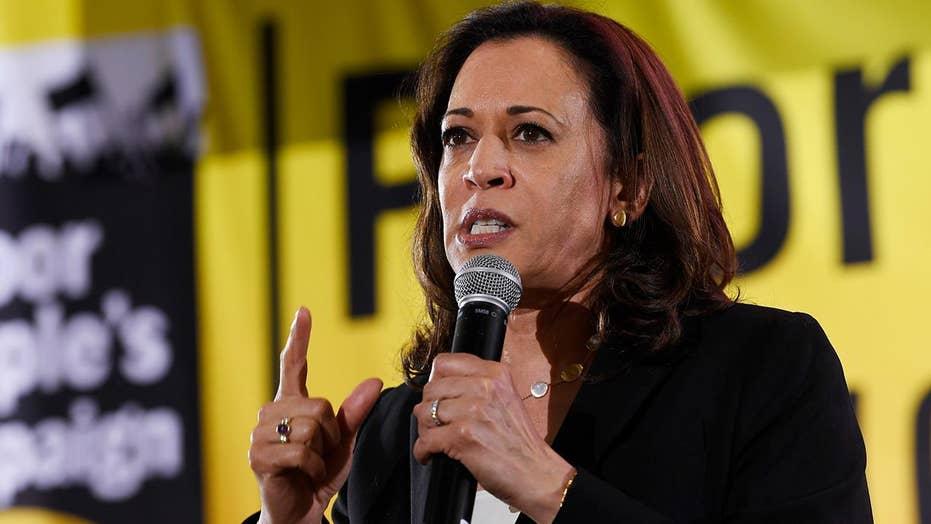 Sen. Kamala Harris reacts to Joe Biden's segregationist comments