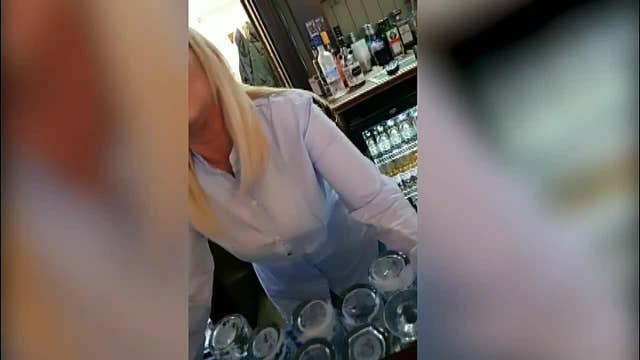 RAW VIDEO: Bartender hits man who refuses to pay for water