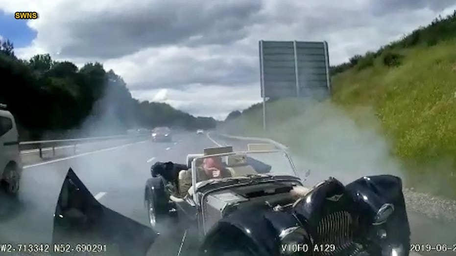 Dashcam footage shows old-fashioned car slamming into SUV at high speed