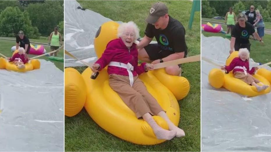 94-year-old saddles a rubber duck float for summer fun