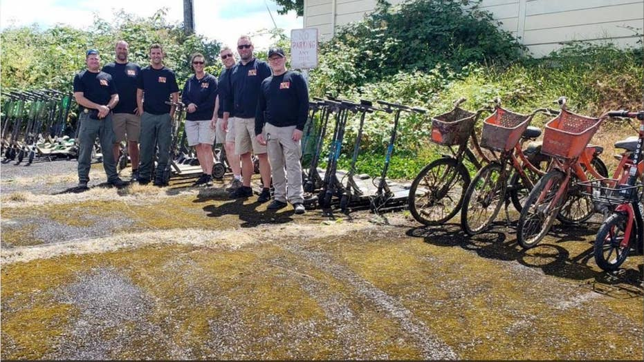 Oregon sheriff's diving team pull out dozens of scooters during training mission