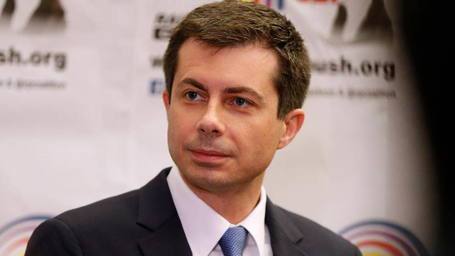 Democratic presidential candidate Pete Buttigieg addresses Rainbow Push Convention