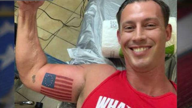 Retired Marine gets Betsy Ross flag tattoo