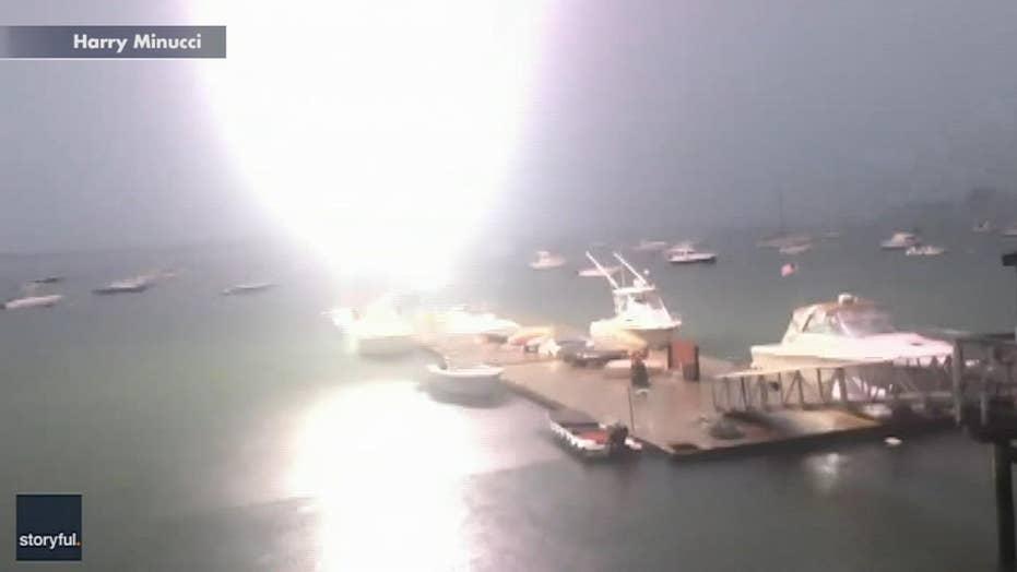 Bolt of lightning strikes sailboat in Boston Harbor