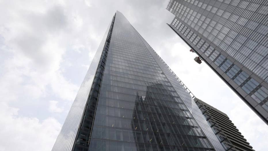 Daredevil beam The Shard in London, one of Europe's tallest buildings