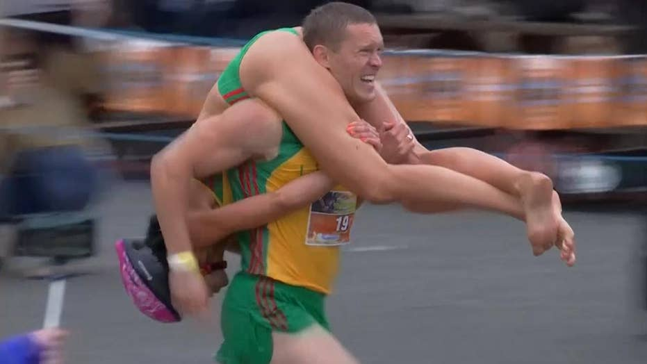 Couples compete in wife-carrying championships in Finland