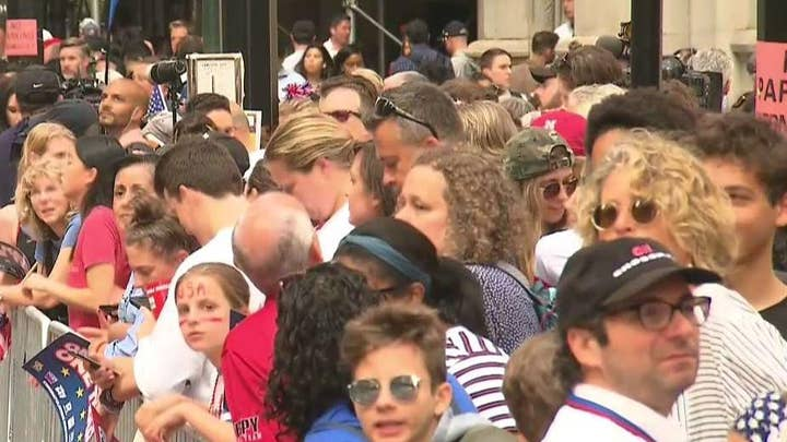 Thousands of fans gather for parade honoring US women's national soccer team in New York City