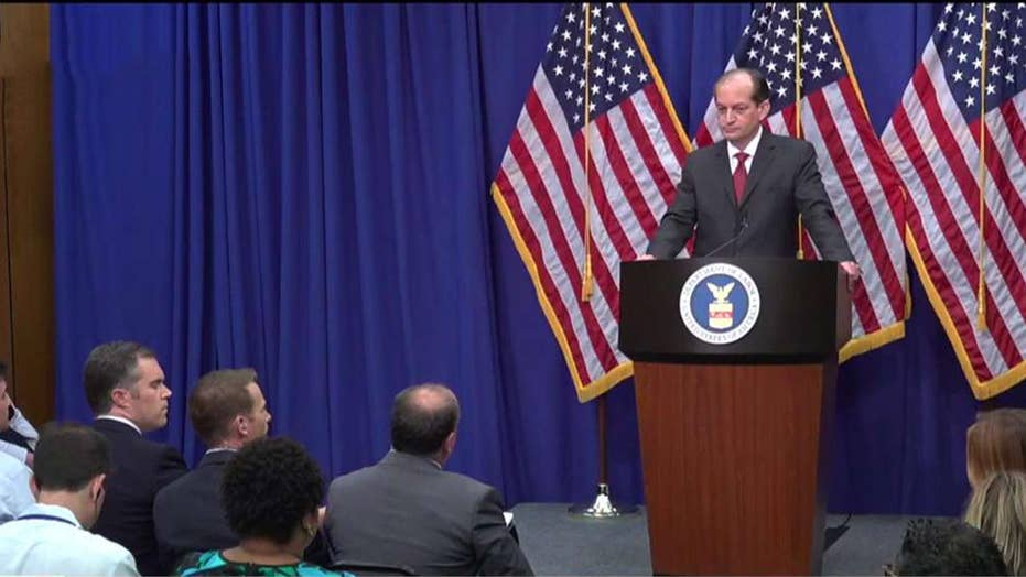 Labor Secretary answers reporters' questions, defends 2008 plea deal with Jeffrey Epstein