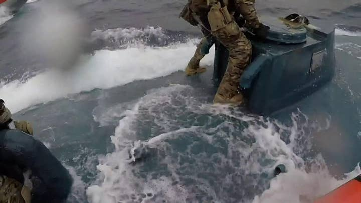 Watch: Coast Guard sailors leap onto moving drug smuggling sub