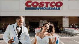 Couple take wedding photos at Costco where they first met over box of mac and cheese