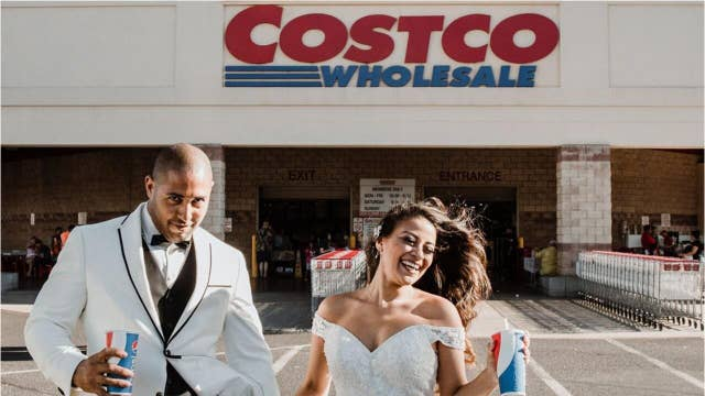Couple take wedding photos at Costco where they first met