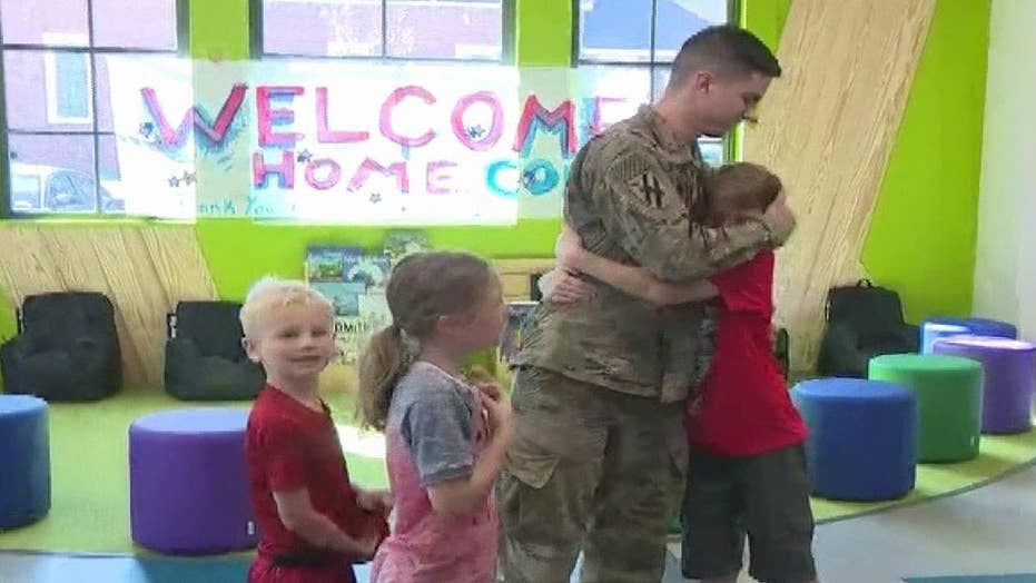 Soldier surprises brother and sister, sparking a special moment