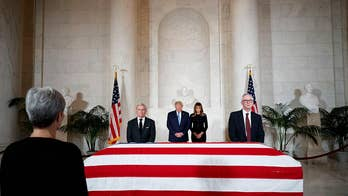 President Trump and first lady pay their respects to late Supreme Court Justice John Paul Stevens