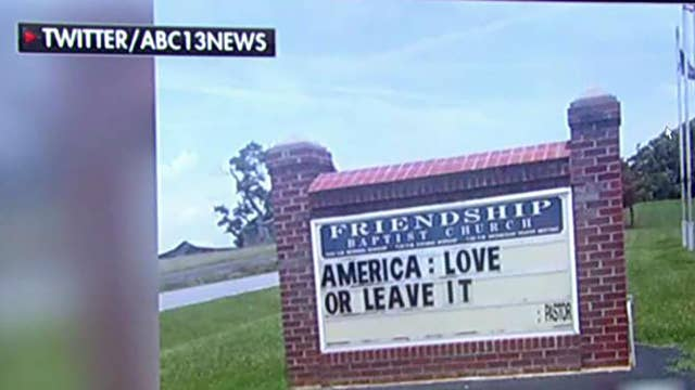 'America: Love or leave it' sign faces backlash from congregation