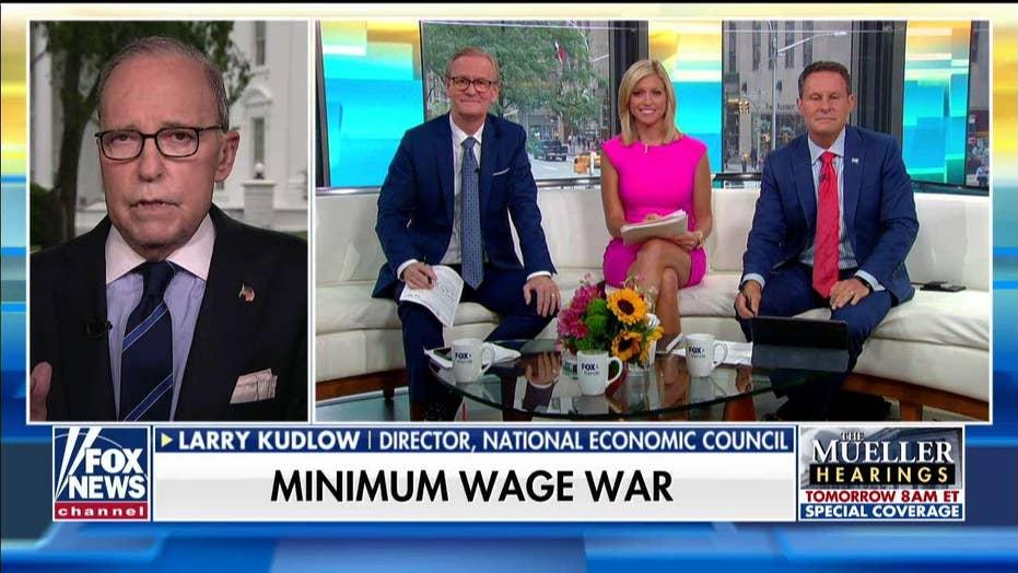 Kudlow responds to Rashida Tlaib's $20 minimum wage proposal