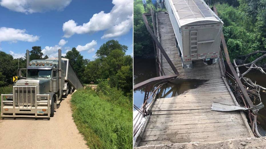 Police: 100-year-old North Dakota bridge collapses due to overweight truck carrying several tons of beans