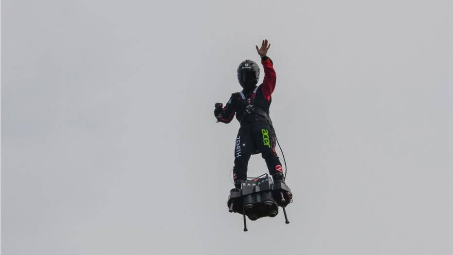 French inventor fails in attempt to cross the English Channel on hoverboard, wife vows 'he will do it again'