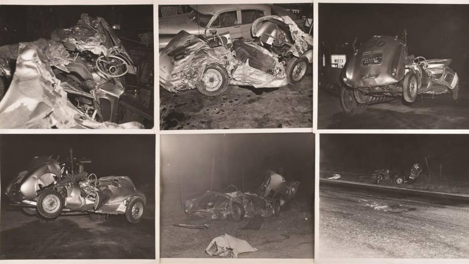 Rare photos of James Dean's fatal accident scene being