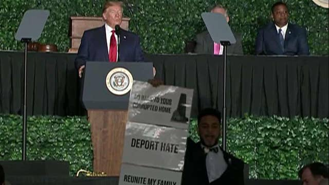 Protester interrupts President Trump's speech at Jamestown anniversary event
