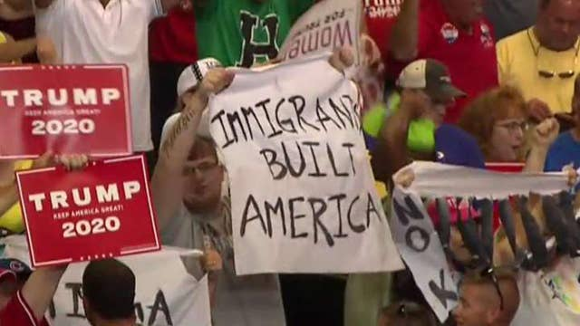 Law enforcement removes anti-ICE protesters from Trump rally in Ohio