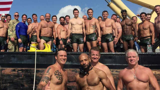 Highlights from Pete Hegseth's swim across the Hudson River with Navy SEALs