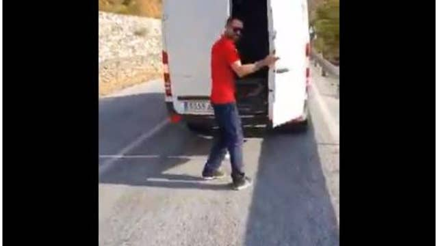 Man throws fridge down hill to mock recycling