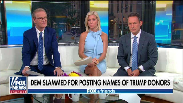 'Fox & Friends' slams Texas Dem for posting names of Trump donors: 'Totally out of bounds'