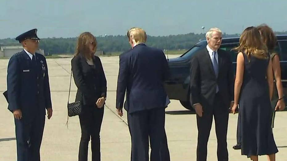 President Trump arrives in Dayton, Ohio to visit with mass shooting survivors